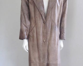 Leather Coat Women / Express / 80s Coat / Long Leather Coat / 80s Leather / Brown Leather / Hipster Coat / Rocker / New Wave / Punk