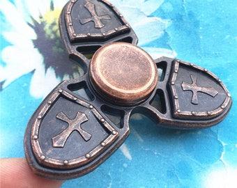 Father's Gift-Finger Spinner--Fidget Hand Spinner--Antiqued Copper-Cross Fidget Spinner--Fidget Toys--Desk toys-Stress balls