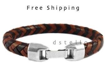 Custom mens bracelet, Mens leather bracelet, Braided bracelet, Bracelet for men, 3rd anniversary gift, Gift for men, Quality Spanish leather