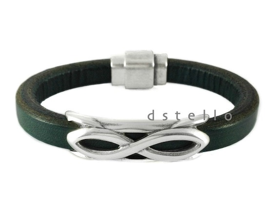 Mens leather bracelet, Infinity Symbol, Eternity, Jewelry for Men, Gift idea, Magnetic, Custom made cuff, Spanish leather, EXPRESS