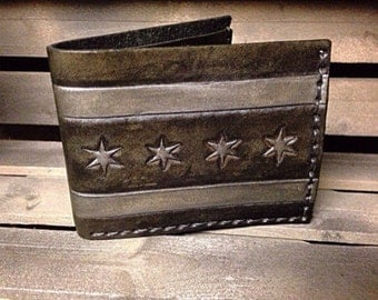 Leather Chicago Flag Wallet