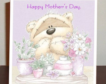 Cute Mother's Day card with Teddy and flowers.