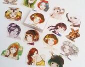 Pretty Manga Anime Girl Sticker Set