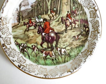 1950's Midwinter Staffordshire Butter Pat, Pin Dish, Tea Bag or Ring Holder - English Hunting Scene with Horses, Dogs - Gift for Her or Him