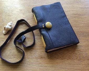 Mini Leather Purple Pocket Journal-Handmade-Yellow Accents