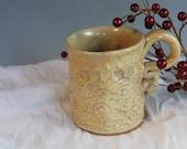 Heart mug - Yellow - hearts - love - handmade gift - stoneware coffee mug