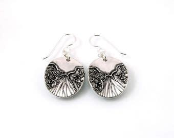 Sterling Silver, Oval Earrings, River, Mountain, River Jewelry, Scenic Jewelry, Silver Earrings, Sterling Earrings, Artisan Earrings, 1262a