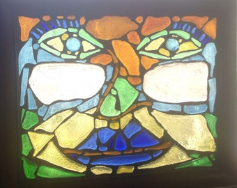 """Recycled glass mosaic abstract face 11 1/2""""x9 1/2"""""""