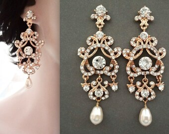 Gold pearl earrings, Gold Crystal pearl earrings, Gold pearl wedding earrings, Brides earrings - Gold chandelier earrings, ANGELINA