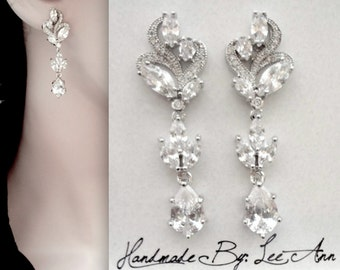Crystal bridal earrings ~ Marquise cut ~ Brides earrings ~ Wedding earrings ~ Bridal jewelry ~ High quality ~Cubic zirconia ~ Lux ~ LILLY