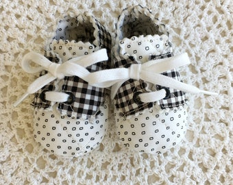 White and Black Baby Oxfords for Newborn to Three Months