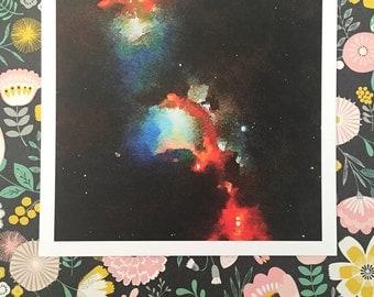 Orion Space Age Square Archival Watercolor Gouache Print AP011P