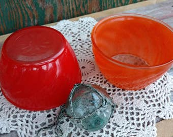 Vintage Colorful Pyrex Like Bowls Serving Dishes - Retro Condiment + Mixing Dish + Bright Storage Solutions, Blue Pyrex, Yellow Pyrex Dishes