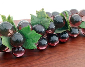 Vintage Mid Century Modern / Hollywood Regency Deep Purple Lucite Faux Wine Grapes Cluster