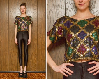 Vintage 70s 80s 90s Sheer Silk Rainbow Gold Green Purple Sequin Indian Beaded Abstract Clover Shapes Mardi Gras Crop Blouse Top S
