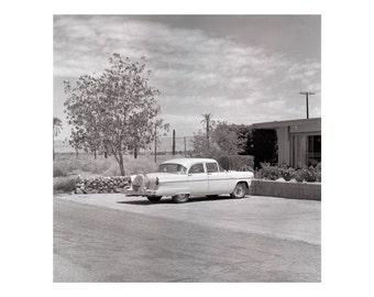 Print Only - Classic Car Cadillac 50s Bombay Beach Salton Sea California Film Desert Mid Century Black White Photography Photograph Square