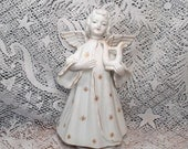 Vintage SCHMID Revolving Musical White Angel with Gold Accents MINT