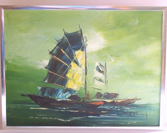 Mid-Century Modern Oil Painting, Nautical Asian Seascape, Celadon Green, Chunky Chrome Frame