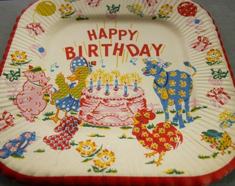 Vintage Mid Century Paper Happy Birthday Plates- Includes Two