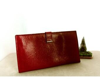 Vintage, Valencia Passport & Travelers Wallet, Red Kid Leather