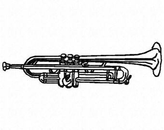Trumpet Machine Embroidery Design - Instant Download