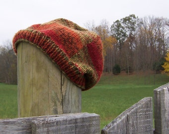 Slouchy Beanie Women's Hand Knit Hat Autumn Colors of Green, Orange, and Red Hand Knit Swirled Design Fall Winter Accessory