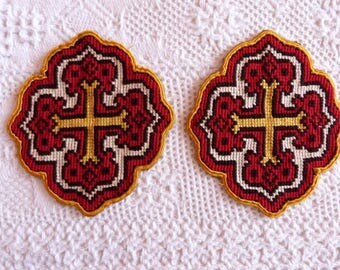 Antique French needlepoint canvas applications panels w handembroidered Maltese crosses, religious embroidery for church or priest vestment