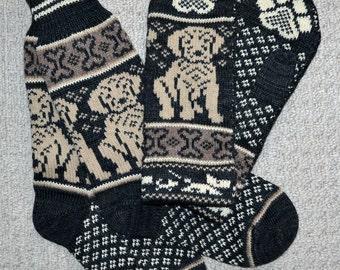 Wool socks and Mittens set, Hand Crafted, 100% wool , M / L, folk art,  labrador dog golden retriever puppy, fair isle