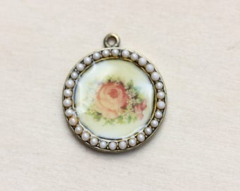 Flower Pearl Pendant, Shabby Chic Pendant, Rose Charm, Rose Pendant, Flower Charm, Pearl Charm, Vintage Flower Charm