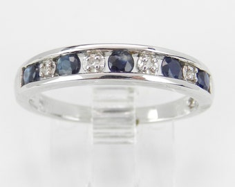 Sapphire and Diamond Wedding Ring Anniversary Band White Gold Size 7