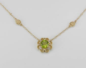 "Diamond and Peridot Halo Flower Pendant Necklace 14K Yellow Gold 17"" Chain August Birthday"