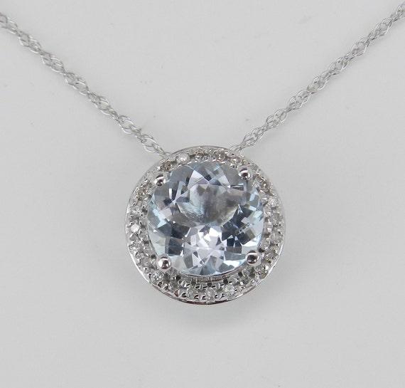"Diamond and Aquamarine Halo Pendant Necklace 18"" 14K White Gold Chain Aqua Slide March Birthstone"