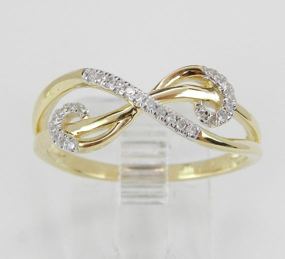 Diamond Ring Infinity Cocktail Journey Ring Anniversary Band Yellow Gold Size 8