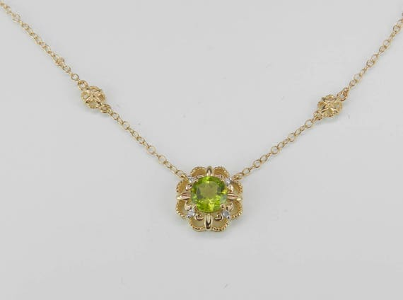 """Diamond and Peridot Halo Flower Pendant Necklace 14K Yellow Gold 17"""" Chain August Birthday"""