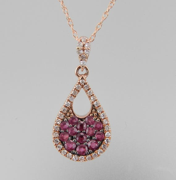 """Diamond and Ruby Cluster Pendant 14K Rose Gold Necklace 18"""" Chain July Birthday"""