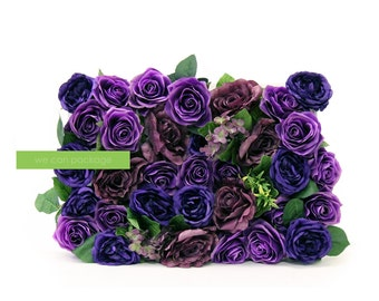 PURPLE Rose Flower Wall Backdrop - Wedding Event Decorations - Artificial Rose Panel