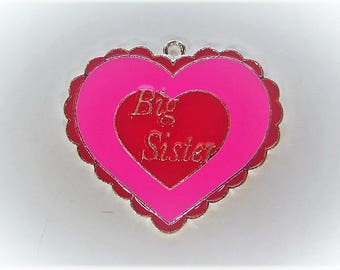 43mm*38mm Hot Pink and Red Enamel Big Sister Pendant, P53