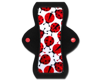 "Reusable Cloth Pad (8"" Moderate - Ladybug Flannel)"
