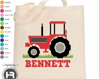 Red Tractor Tote Bag - Personalized Beach Bag - Printed Tractor Bag - Monogram Pool Bag - Summer Vacation