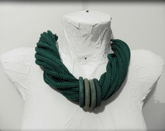 green knitted necklace, statement necklace, winter jewelry, gift for wife