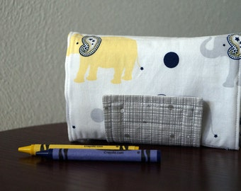 Crayon Organizer - Elephants - Crayon Holder - Crayon Roll - Back to School - Stocking Stuffer - Boy Gift Under 20