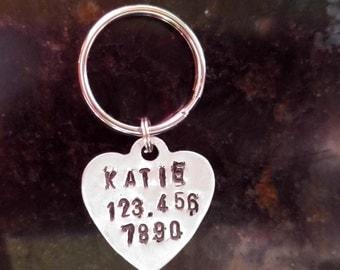 Hand Stamped Tag, Dog Tag, Personalized Dog Tags, Pet ID Tag, Dog Name Tag, Pet Tag, Custom Dog Collar Tag, Aluminum ID Tag, Dog Collar Tag