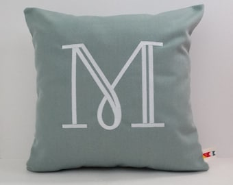 MONOGRAMMED WEDDING GIFT pillow cover Sunbrella indoor outdoor embroidered letter initial alphabet anniversary nursery pillow oba canvas co.
