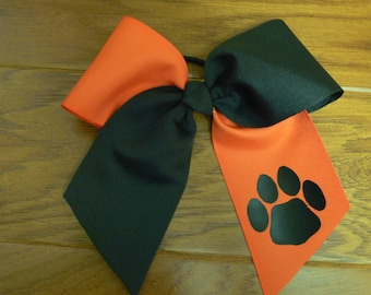 Orange and Black Large Cheer Bow with Paw Print Pony Tail, Alligator Chip or Barrette