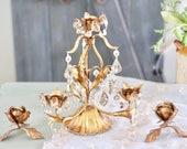 Vintage Candle Holder Florentine Gold Gilt Hollywood Regency Candelabra with Glass Crystal Drops Boho Decor