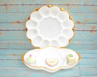 Pair of Vintage Milky Glass White Serving Dishes Deviled Eggs Plate Candy Dish Fire King