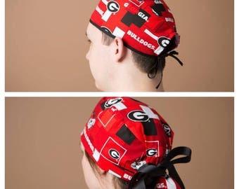 Surgical Hat, Scrub cap, Ponytail Scrub cap, Surgical cap, ponytailed scrub hat, scrub hat, Ponytailed surgical cap~ Georgia Bulldogs