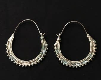 Afghani KUCHI scie lame grand Hoop boucles d'oreilles 2 tailles Goth Tribal Belly Dance Uber Kuchi®