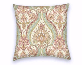 Pink Yellow Teal Beige Ikat Paisley Decorative Throw Pillow-18x18 or 20x20 or 22x22- Pillow Cover- Accent Pillow