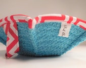 Two Bowl Cozies in Turquoise Terrycloth and red and white Chevron Print